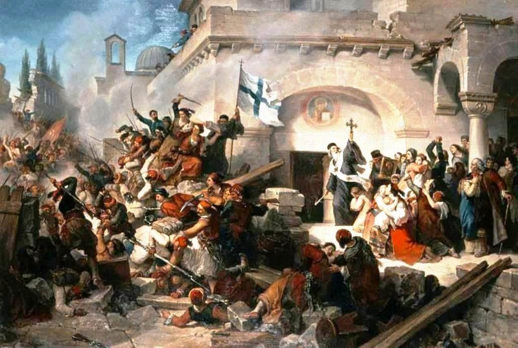 -«L' OLOCAUSTO DI ARCADI» Φανταστική σύνθεση του Ιταλού ζωγράφου G.L.Gaterri (1867), εμπνευσμένη από το «ολοκαύτωμα του Αρκαδίου».