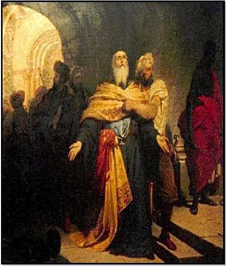 Ο Πατριάρχης Γρηγόριος Ε΄ οδηγείται στην εκτέλεσή του. Δημιουργία τού Νικηφόρου Λύτρα