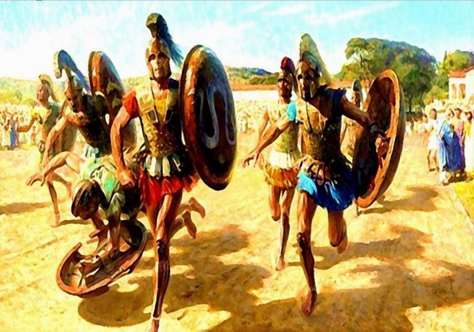 Οπλιτοδρομία Ελλήνων. Έργο τού Τομ Λόβελ (Tom Lovell (1909 – 1997) » Greek Contestants Wearing Heavy Armor Race For Fame And Olive Wreath)
