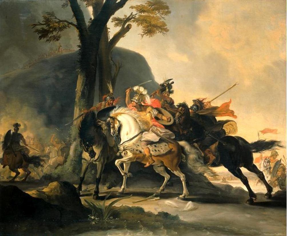 «Ο Κλείτος εμποδίζει τον Σπιθριδάτη να χτυπήσει τον Μέγα Αλέξανδρο στην μάχη του Γρανικού». Δημιουργία του Κορνηλίου Τροστ.