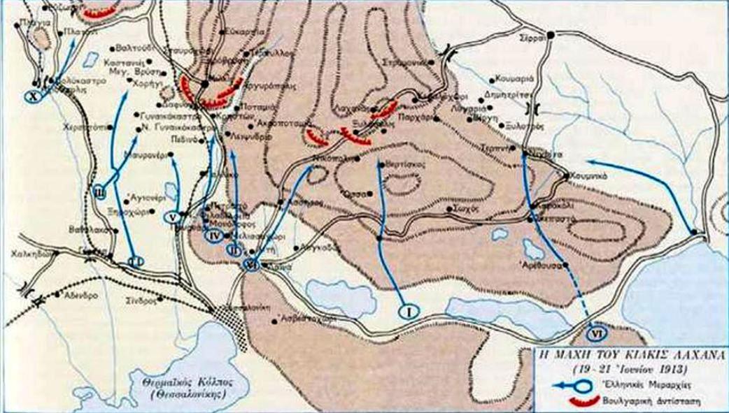 Σχεδιάγραμμα των θέσεων Ελλήνων και βουργάρων.