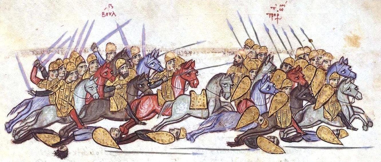 Χρονικό Σκυλίτζη. Η νίκη των βούργαρων στην Αγχίαλο. (Bulgarian forces rout the Byzantines at Anchialos in 917. Madrid Skylitzes.)