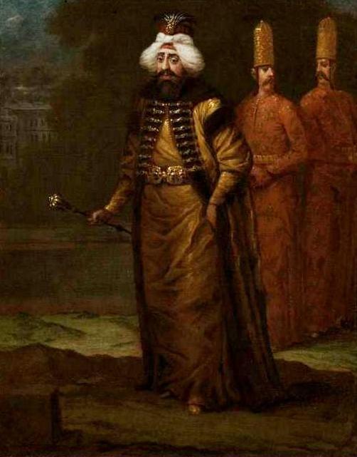 Έργο τού Ζαν Μπαπτίστ Βανμούρ «Ο σουλτάνος Αχμέτ Γ΄». (Sultan Ahmed III, Jean Baptiste Vanmour, c. 1727 - c. 1730)