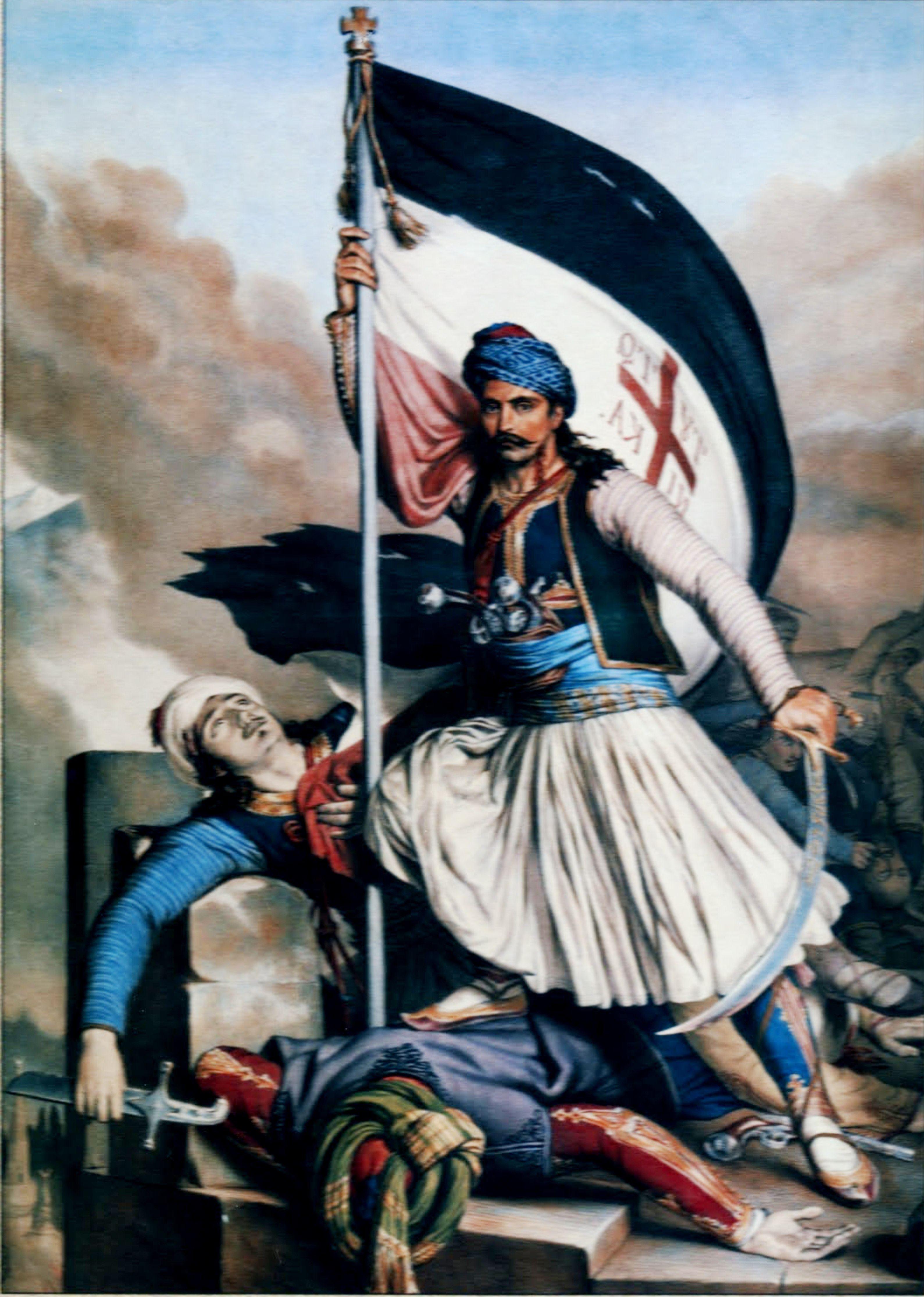 Σάλωνα - Ο Νικολάκης Μητρόπουλος υψώνει τη σημαία με τον σταυρό στα Σάλωνα, την ημέρα του Πάσχα του 1821. Έργο τού Λουί Ντιπρέ.