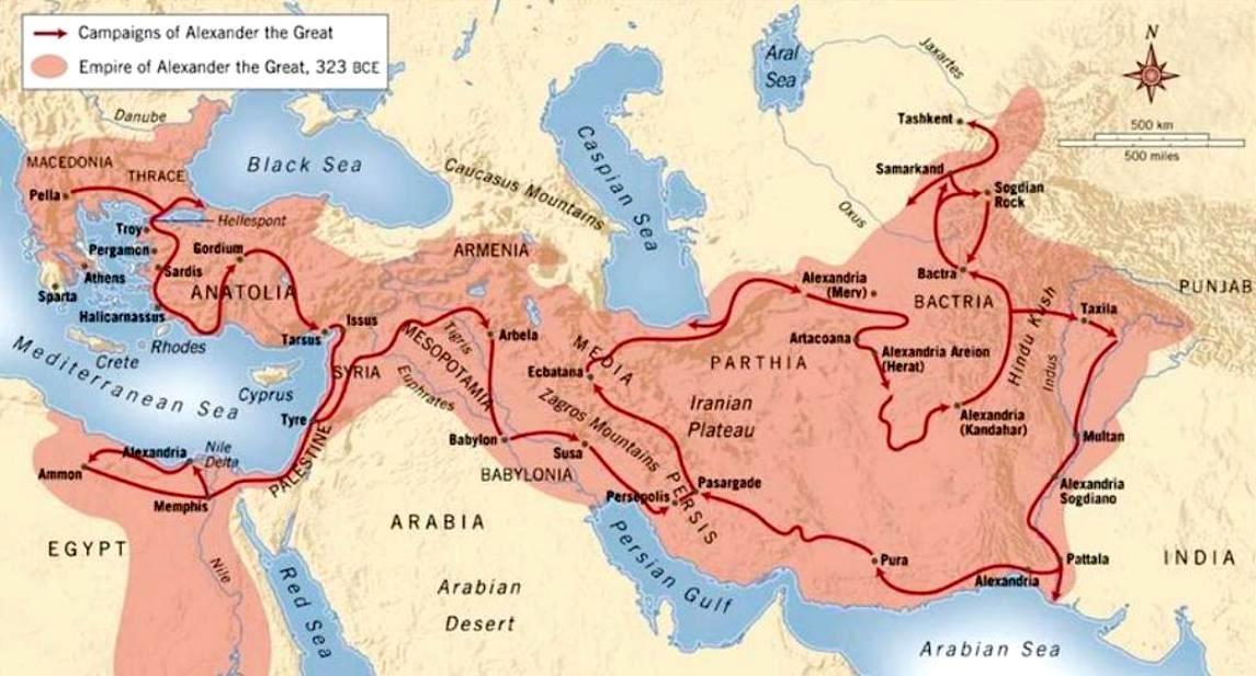 Χάρτης μὲ τὶς πορεῖες τῶν ἐκστρατειῶν τοῦ Μέγιστου τῶν Ἑλλήνων.
