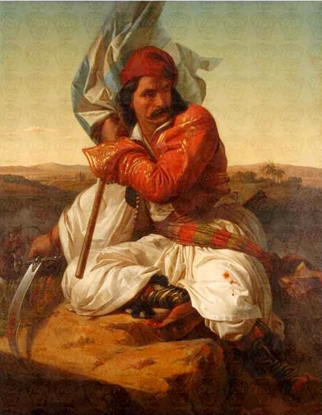 """"""" Πολεμιστὴς τοῦ 1821"""" ἔργο τοῦ Σπυρίδωνα Προσαλέντη."""