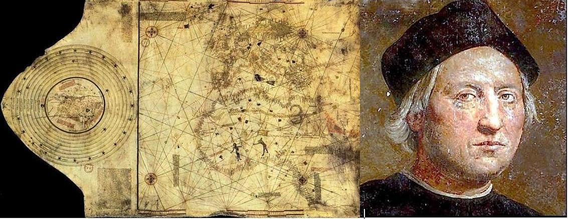 Σύνθεση μεταθανάτιας προσωπογραφείας ἀπό τὸν Ροντόλφο Γκιρλαντάϊο καὶ ἑνός ἀπό τοὺς χάρτες τοῦ Βαρθολομαίου Κολόμβου.