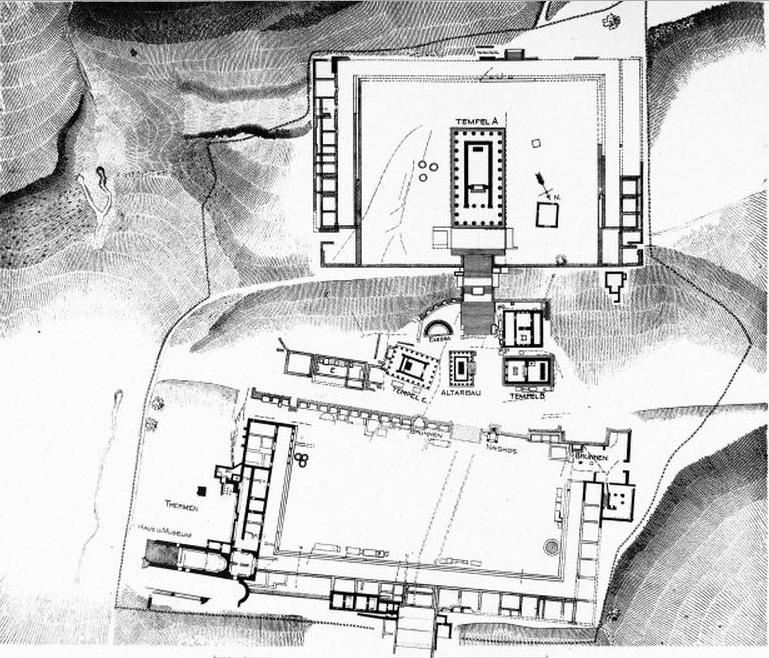 Σχέδιο τοῦ Ἀσκληπιείου (1902-1904). Plan of the Asclepion made 1902-1904.