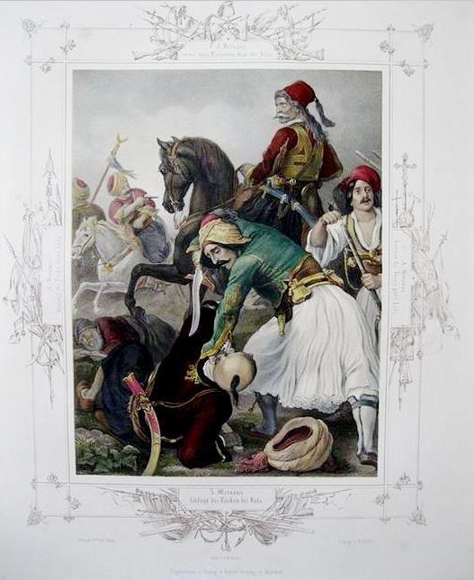 Ο έφιππος Ανδρέας Μεταξάς νικά τους τούρκους στο Λάλα. Επιχρωματισμένο αντίγραφο λιθογραφίας του Πέτερ φον Χες.