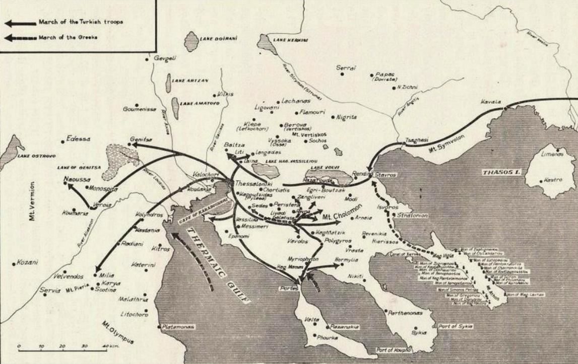 Οι κινήσεις των Ελληνικών και τουρκικών δυνάμεων κατά την διάρκεια της επαναστάσεως στην Χαλκιδική