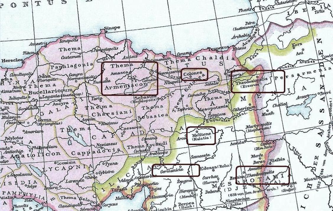Μέρος χάρτη τῆς Βυζαντινῆς Αὐτοκρατορίας τοῦ Ντρόϋζεν, στὸν ὁποῖο φαίνονται οἱ περιοχὲς προελεύσεως τῶν Παυλικιανῶν.