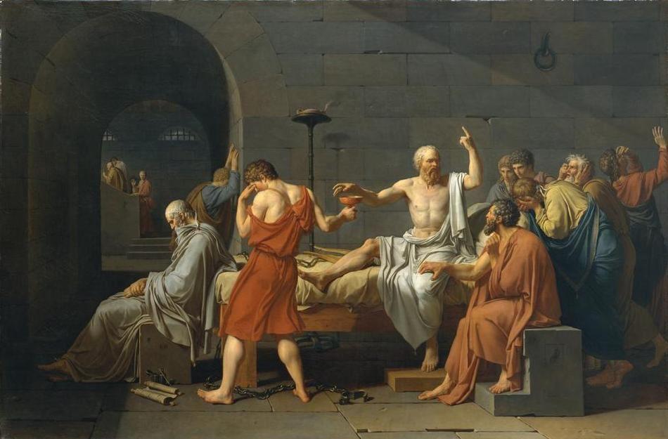 Ζὰκ Λουί Νταβίντ. «Ὁ θάνατος τοῦ Σωκράτη». (Jacques Louis David The Death of Socrates Catharine Lorillard Wolfe Collection).