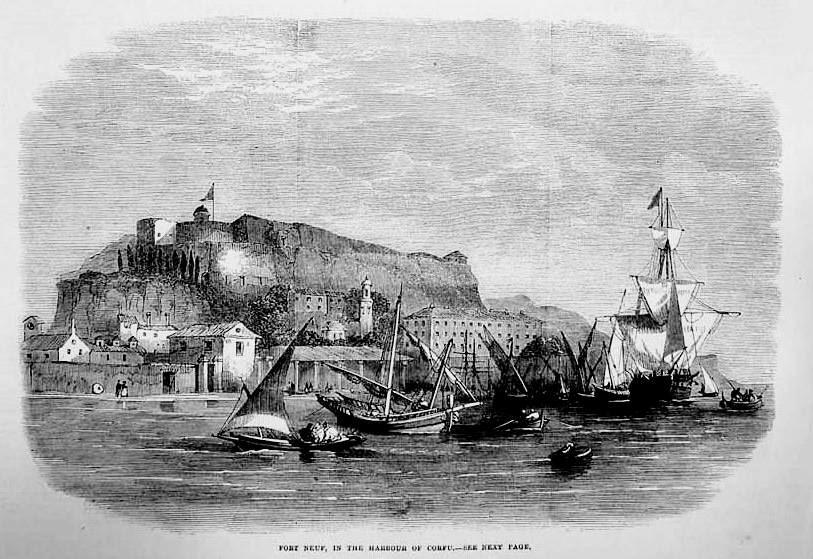 Κέρκυρα, τὸ λιμάνι, ἐκτύπωση τοῦ 1864 στὸ Illustrated London News