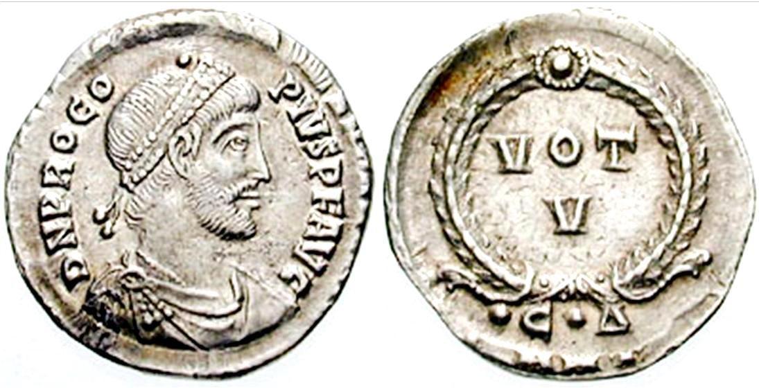 Silver siliqua of Procopius, 365-366