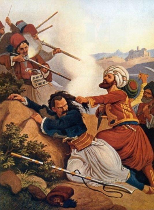 Γιάννης Μακρυγιάννης. Ο Μακροϊάννης αμύνεται εν Πειραιεί προς τους εχθρούς καρτερικώτατα. Peter Von Hess.
