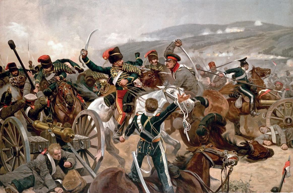 Βρετανικό ἱππικό κατά Ρωσικοῦ στὴν μάχη τῆς Μπαλακλάβα τὸ 1854. (British cavalary charging against Russian forces at Balaclava in 1854).