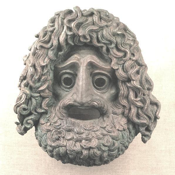 Χάλκινο αναθηματικό τραγικό προσωπείο- 4ος αι. π.Χ