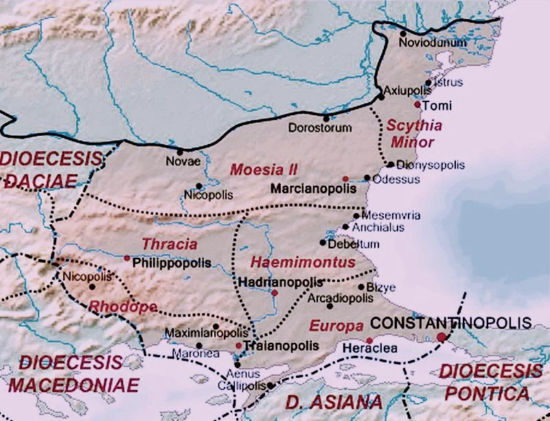 Χάρτης τής Ρωμαϊκής Διοίκησης Θράκης όπου τα όρια είναι κατά προσέγγιση.