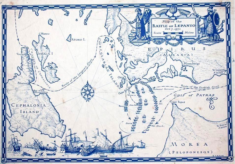 7-10-1571 Χάρτης με την ναυμαχία τής Ναυπάκτου