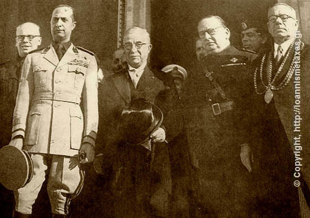 19-12. Θεσσαλονίκη. Ο Μεταξάς παρίσταται στην τιμητική διάκριση που γίνεται στον Τζουζέπε Μποτάϊ (αριστερά) Υπουργό παιδεία (Giuseppe Bottai) τής Ιταλίας. Δεξιά είναι ο Ε.Γκράτσι (Emanuele Grazzi ), Υπουργός Εξωτερικών.