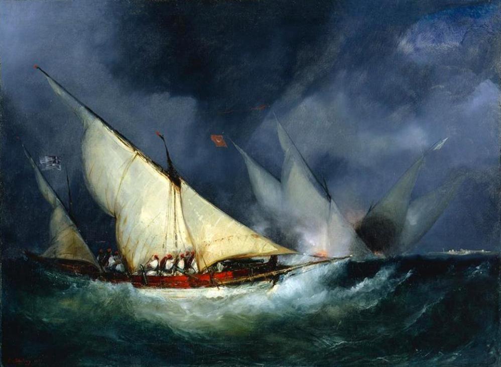 Eugene Louis Gabriel Isabey, 1827, Έλληνες πειρατές επιτίθενται σε τουρκικό πλοίο.