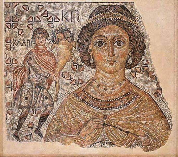 Θραύσμα από ένα ψηφιδωτό δάπεδο με μία προσωποποίηση τής Κτίσης , 500-550 μ.Χ. . Βυζαντινό μάρμαρο και γυαλί. Βυζαντινό , Μητροπολιτικό Μουσείο Τέχνης.