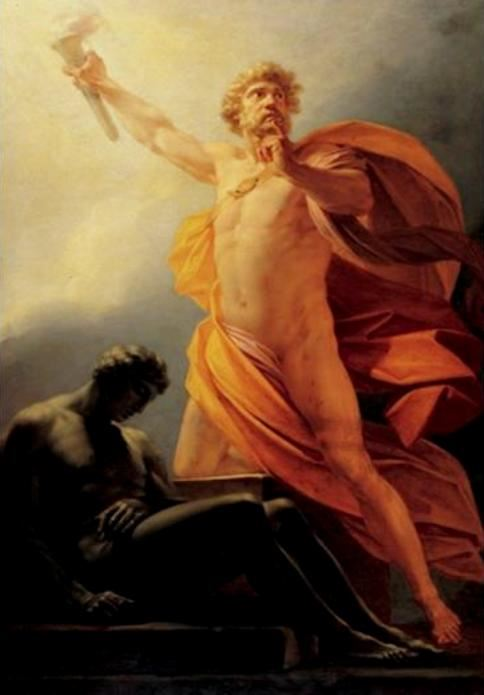 Prometheus Bringing Fire (Spark of Reason) to Mankind by Friedrich Heinrich Fuger, 1817.