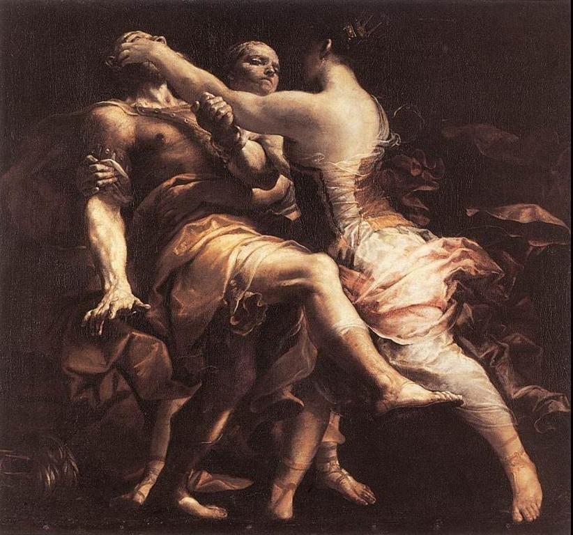 Η Εκάβη τυφλώνει τον Πολυμήστορα, δολοφόνο τού μικρότερου γιού της Πολύδωρου. Δημιουργία τού  Τζουζέππε Μαρία Κρέσπι - Βασιλικό Μουσείο των Καλών Τεχνών Βρυξέλλες.