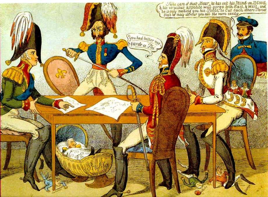 Γελοιογραφία απεικονίζουσα το Συνέδριο τής Βερόνα.