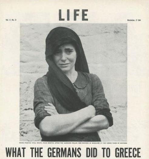 """Αφιέρωμα τού περιδικού """"Λάϊφ"""" με τίτλο «Τί έκανε η Γερμανία στην Ελλάδα»."""