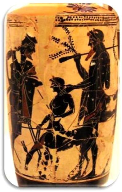 Λήκυθος μὲ λευκὸ φόντο. 500 π.Χ. Ἀρχαιολογικὸ Μουσεῖο Ἀθηνῶν. Ὁ Πηλέας (ἀριστερά), μὲ τὸν παπποῦ του, κένταυρο Χείρωνα (δεξιά) καὶ τὸν γιὸ του Ἀχιλλέα (κέντρο).