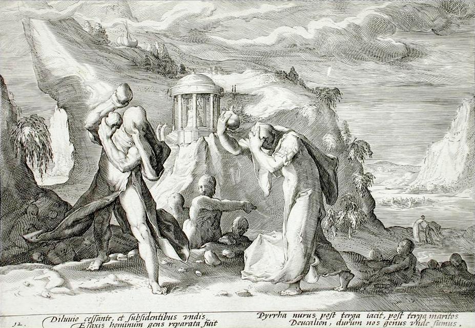 Δευκαλίων και Πύρρα. Από το βιβλίου τού Οβιδίου, Μεταμορφώσεις.(Deucalion and Pyrrha Book Metamorphoses by Ovid, book 1 plate 12).