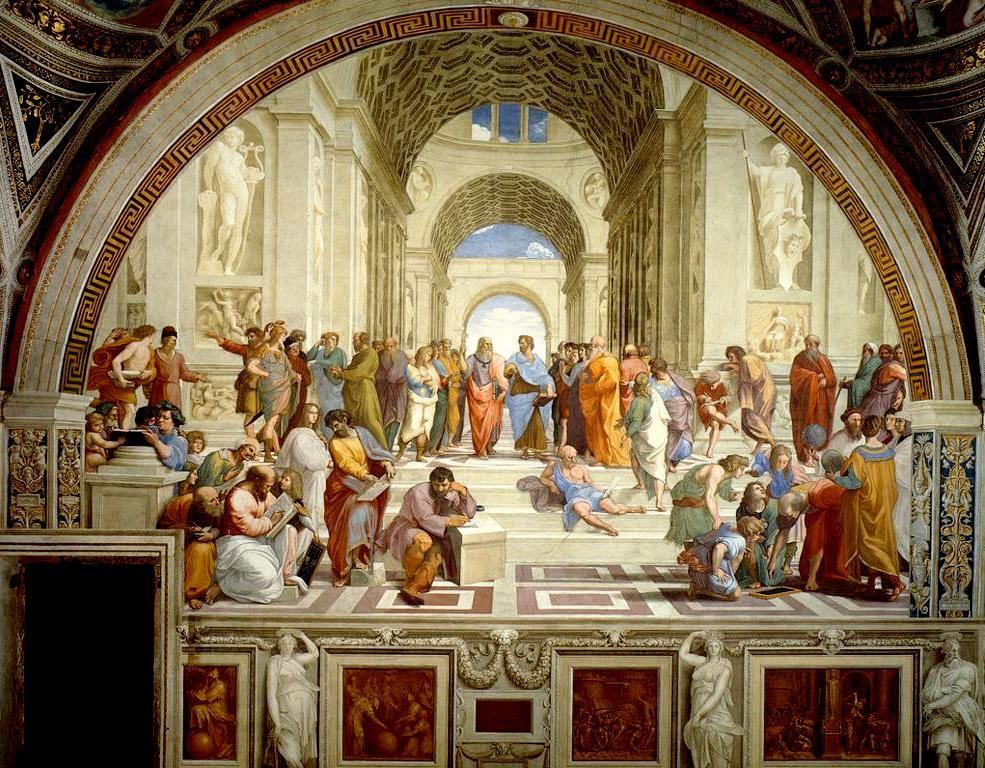 «Η σχολή των Αθηνών». Τοιχογραφία τού Ραφαήλ Σάντι (Ραφαέλλο). Βατικανό. (Scuola di Atene Raffaello Sanzio Musei Vaticani).
