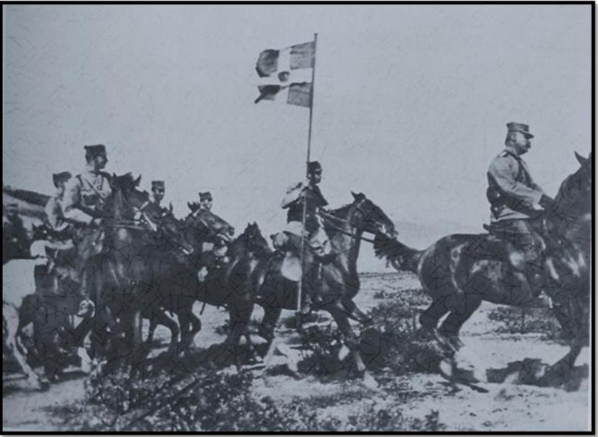 Ἵλη τοῦ ἑλλ.ἱππικοῦ στὴν μάχη τῆς Ἄρνισσας 3-4 Νοεμβ.1912. Μουσεῖο Μπενάκη